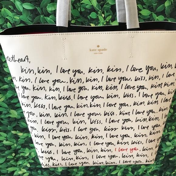 Kate Spade NWT heart it Penelope tote love black
